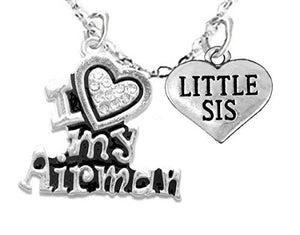 "Air Force, ""Little Sis"", Children's Adjustable Necklace, Hypoallergenic, Safe - Nickel & Lead Free"
