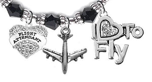 "Airline Flight Attendant, ""I Love to Fly"", Hypoallergenic Black Crystal Charm Bracelet, Nickel Free"