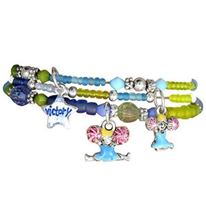 "Children's ""Cheer"" Charm Bracelets (3 Bracelets Tied with Ribbon in Package), Green - Safe"