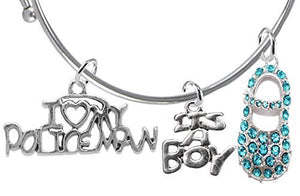"Policeman's Wife's Baby Shower Gifts, ""It's A Boy"", Adjustable Bracelet - Safe, Nickel & Lead Free"