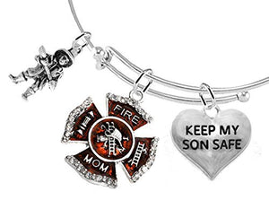Firefighter's Moms, Keep My Son Safe, Adjustable Bracelet - Safe, Nickel & Lead Free
