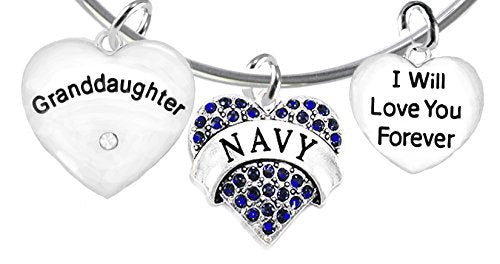 "navy granddaughter"", i will love you forever, safe - nickel & lead free"