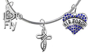 "Air Force, ""I Love to Fly"", Genuine Crystal, Beautiful Crystal Cross, Miracle Wire Bracelet"