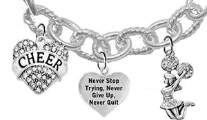 "Cheer Crystal ""I Love to Fly"", Never Quit, Jumping Cheerleader, Cable Chain Cheerleader Bracelet"