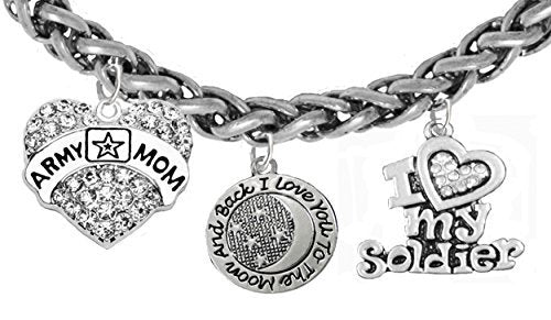 "army mom, ""i love you to the moon and back"", i love my soldier bracelet"