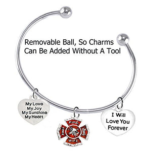 Firefighter Wife, My Love, My Joy, My Sunshine, I Will Love You Forever Bracelet - Safe, Nickel Free