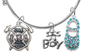 "Rescue Fireman's Wife's Baby Shower Gifts, ""It's A Boy"", Adjustable Bracelet, Safe - Nickel Free"
