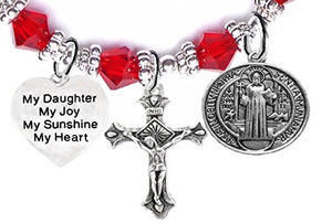 "Saint Benedict Charm, My ""Daughter"", My Joy, My Sunshine, My Heart & Prayer Red Crystal Bracelet"