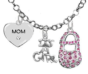 "Baby Shower Gifts, ""Mom"", ""It's A Girl"", Necklace, Hypoallergenic, Safe - Nickel & Lead Free"