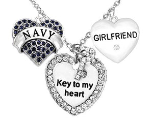 "Navy Girlfriend, ""Key to My Heart"", ""Crystal Girlfriend"" Heart Charm Necklace, Safe - Nickel Free"