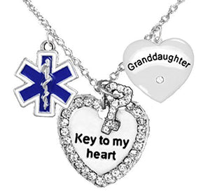 "EMT, Granddaughter Adjustable ""Key to My Heart"" Necklace, Safe - Nickel & Lead Free"