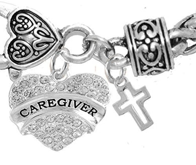 Caregiver, Nurse, RN, LPN, High Polished Cross, Bracelet, Hypoallergenic, Safe - Nickel & Lead Free