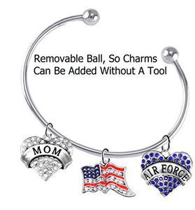 "Air Force ""Mom"", Crystal American Flag, Air Force Charm, Adjustable, Removable Ball Bracelet Safe"