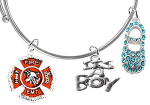 "EMT Firefighter's Baby Shower Gifts, ""It's A Boy"", Adjustable Bracelet, Safe - Nickel & Lead Free"