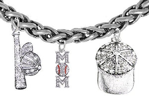 "Baseball ""Mom"", Genuine Crystal. Bat, Caps Bracelet, Hypoallergenic, Safe - Nickel & Lead, Free"