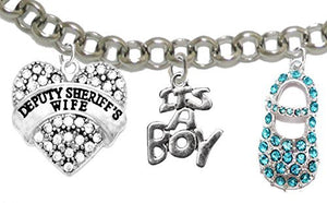 "Deputy Sheriff's, Wife's, ""It's A Boy"", Bracelet, Hypoallergenic, Safe - Nickel & Lead Free"