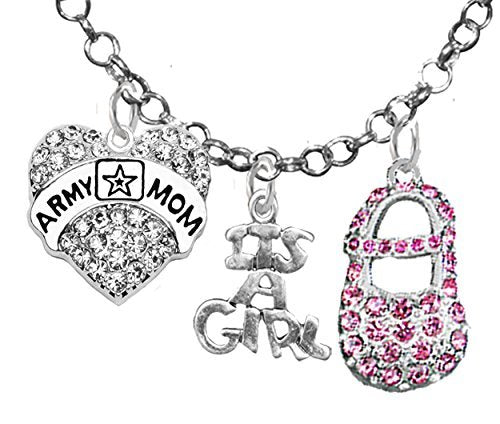 """army mom's, """"it €™s a girl"""", necklace, hypoallergenic, safe - nickel & lead free"""