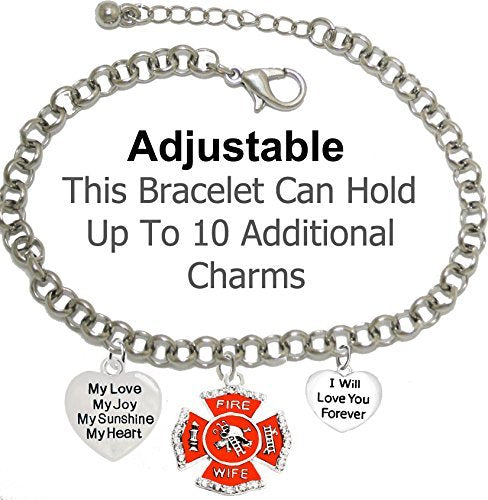 firefighter's wife, my love, my joy, my sunshine, i will love you forever bracelet - nickel free