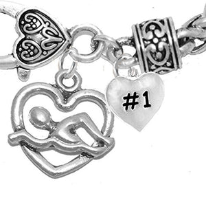 I Love Swimming #1 Heart Bracelet, Hypoallergenic, Safe - Nickel & Lead Free