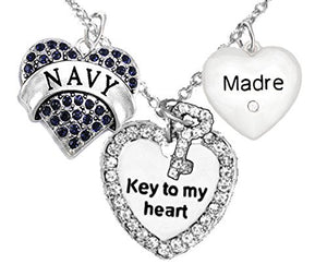 "Navy Madre, ""Key to My Heart"", ""Crystal Madre"" Heart Charm Necklace, Safe - Nickel & Lead Free"