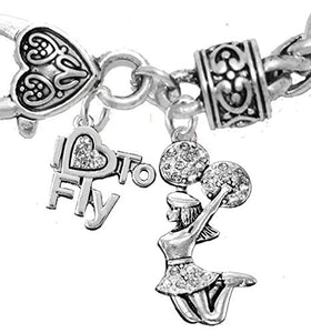 "Cheerleader, Crystal ""I Love to Fly"", Jumping Cheerleader, Antique Wheat Chain Charm Bracelet -Safe"