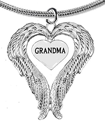 Guardian Angel, Heart (Love) Shaped Wings for Grandma Necklace, Adjustable - Safe, Nickel Free