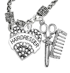 Hair Dresser Crystal Heart, Comb & Scissors Necklace, Safe - Nickel & Lead Free