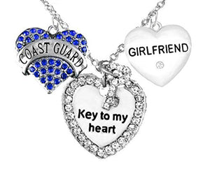 "Coast Guard Girlfriend, ""Key to My Heart"", ""Crystal Girlfriend"" Heart Charm Necklace, Safe"