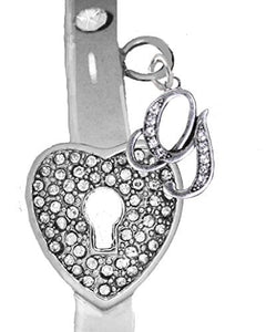 "It Really Locks! The Key to My Heart, ""Initial G"", Cuff Crystal Bracelet - Safe, Nickel & Lead Free"