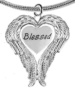 "Guardian Angel, Heart (Love) Shaped Wings, ""Blessed"" Necklace, Adjustable - Safe, Nickel & Lead Free"