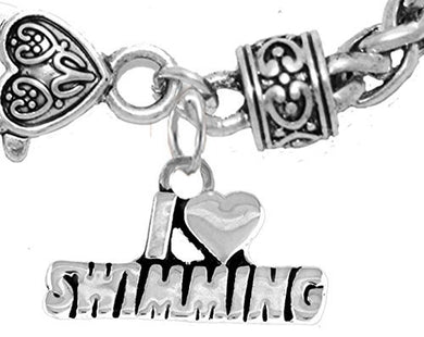 I Love Swimming Bracelet, Hypoallergenic, Safe - Nickel & Lead Free