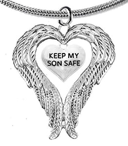 "Guardian Angel, Heart (Love) Shaped Wings, ""Keep My Son Safe"" Crystal Necklace - Safe, Nickel Free"
