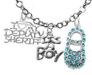 "Deputy Sheriff, ""It's A Boy"", Necklace, Hypoallergenic, Safe - Nickel & Lead Free"