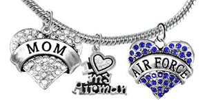 "Air Force ""Mom"", Crystal I Love My Airman, Air Force Charm, Snake Chain Bracelet - Safe, Nickel Free"