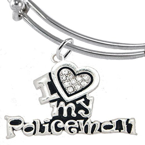 policeman's, i love my policeman, adjustable miracle wire charm bracelet - safe, nickel & lead free