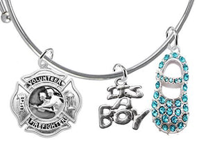 "Volunteer Fireman's Wife's Baby Shower Gifts, ""It's A Boy"", Adjustable Bracelet, Safe - Nickel Free"