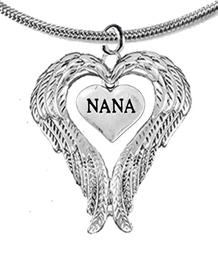 Guardian Angel, Heart (Love) Shaped Wings for Nana Necklace, Adjustable - Safe, Nickel & Lead Free