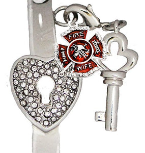 "Firefighter's Wife, ""The Key to My Heart"" Cuff Crystal Bracelet, ""It Really Locks!"" Nickel Free"