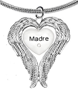 "Guardian Angel, Heart (Love) Shaped Wings, ""Madre"" Crystal Necklace, Adjustable - Safe, Nickel Free"