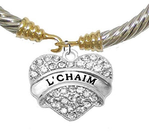 "Jewish ""L'Chiam"", ""To Life "" Crystal Heart Gold/ Silvertone Bracelet, A Great Gift! - Nickel Free"
