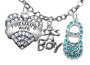 "Fireman's Wife's, ""It's A Boy"", Necklace, Hypoallergenic, Safe - Nickel & Lead Free"