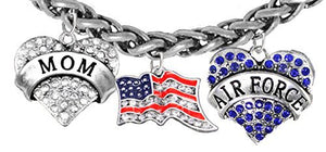 "Air Force ""Mom"", Crystal American Flag, Air Force Charm, New, Antique Wheat Chain Bracelet - Safe"