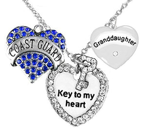 "Coast Guard Granddaughter"", ""Key to My Heart"", ""Crystal Granddaughter"" Heart Charm Necklace"