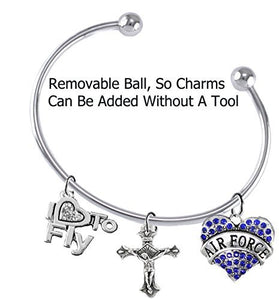 "Air Force, ""I Love to Fly"", Genuine Crystal, Crucifix, Adjustable, Removable End Ball Bracelet"