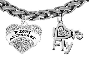 "Flight Attendant, ""I Love to Fly"", Genuine Crystal, Wheat Chain Bracelet, Nickel & Lead Free"