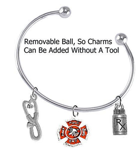 Fire, EMT, Add A Charm Bracelet, Hypoallergenic, Safe - Nickel & Lead Free