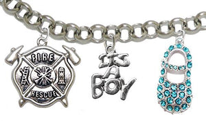 "Rescue Firefighter's, Wife's, ""It's A Boy"", Bracelet, Hypoallergenic, Safe - Nickel & Lead Free"