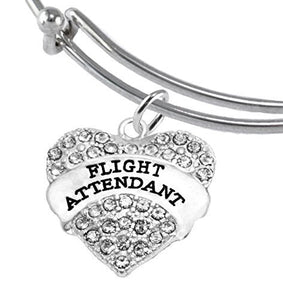 Flight Attendant, Hypoallergenic Adjustable Miracle Wire Charm Bracelet, Nickel & Lead Free