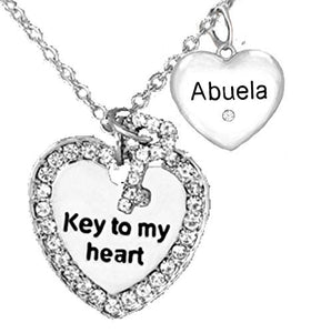 "Abuela Crystal Heart, Beautiful ""Key to My Heart"" and"" I Love You"" Grandma Adjustable Necklace"
