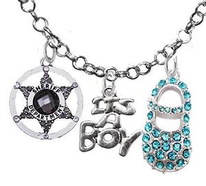 "Sheriff's Department, ""It's A Boy"", Necklace, Hypoallergenic, Safe - Nickel & Lead Free"